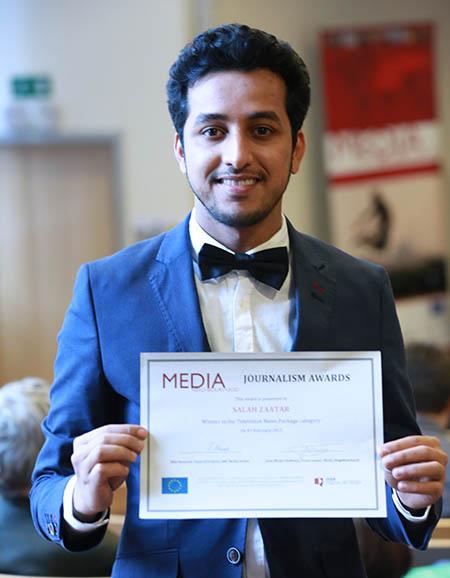 Salah Zater aus Libyen - Auszeichnung mit dem Medienpreis der BBC am 4.2.2015 in Brüssel